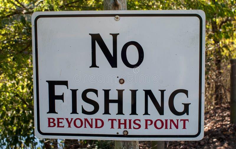 Καμία αλιεία πέρα από αυτό το σημείο στοκ εικόνα