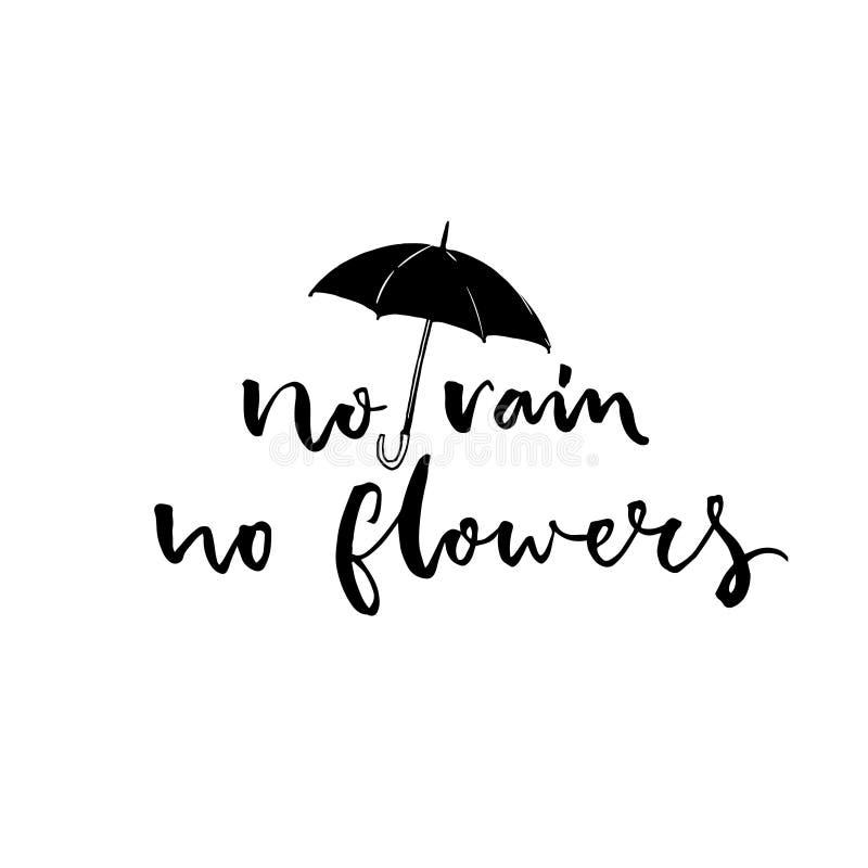 Καμία βροχή, κανένα λουλούδι Εμπνευσμένο ρητό για το άσχημο καιρό, σύγχρονη καλλιγραφία με την απεικόνιση ομπρελών διανυσματική απεικόνιση