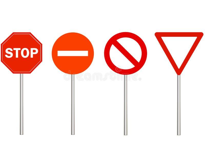 Καμία είσοδος, στάση και κυκλοφορία δεν απαγορεύουν τα σημάδια Οδικό σημάδι προειδοποίησης στο άσπρο υπόβαθρο, κόκκινο τρίγωνο Κά ελεύθερη απεικόνιση δικαιώματος