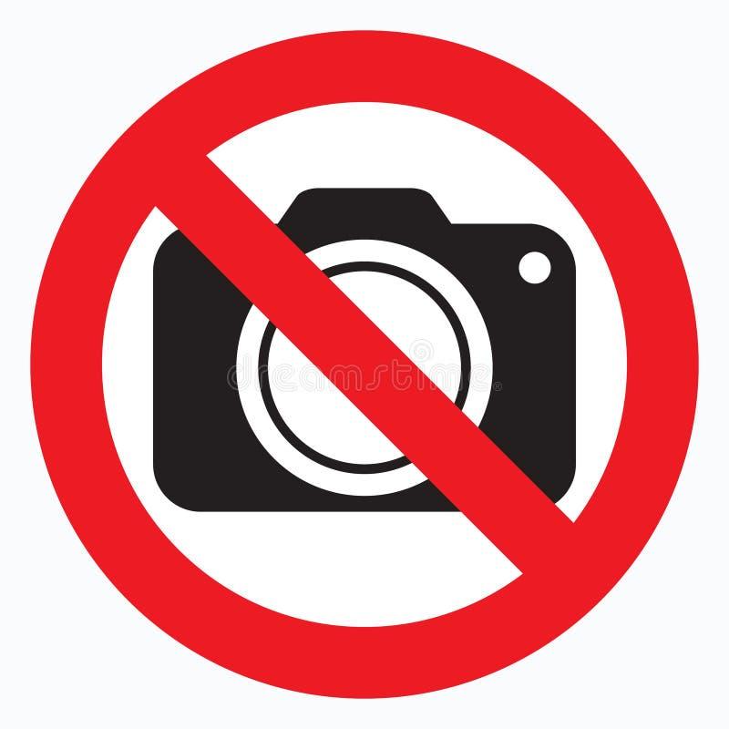 Καμία κάμερα που επιτρέπεται το σημάδι Κόκκινη απαγόρευση κανένα σημάδι καμερών Καμία παίρνοντας εικόνα, καμία φωτογραφία δεν υπο διανυσματική απεικόνιση