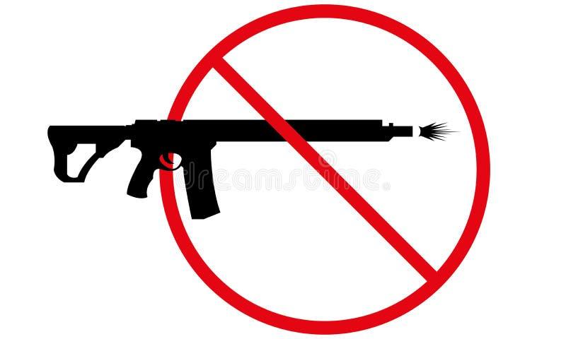 Καμία πυρκαγιά πυροβόλων όπλων που επιτρέπεται δεν υπογράφει κανένα πυρκαγιά σύμβολο όπλων ελεύθερη απεικόνιση δικαιώματος