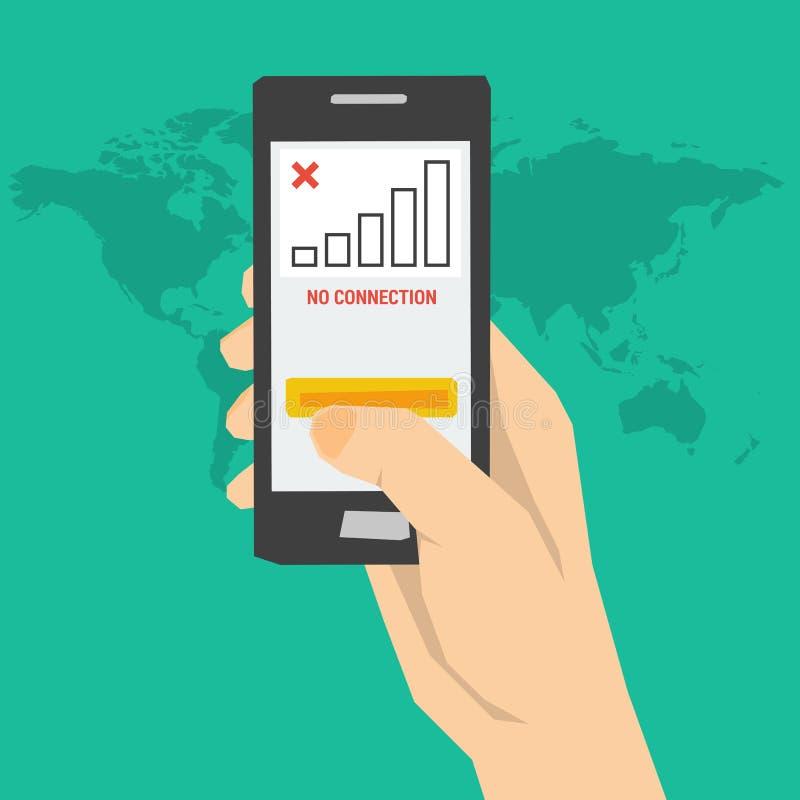 Καμία σύνδεση - χέρι με το τηλέφωνο ελεύθερη απεικόνιση δικαιώματος