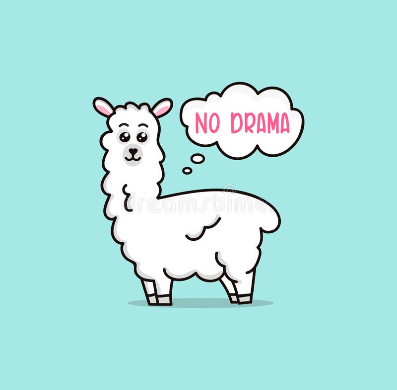 Καμία llama δράματος χαριτωμένη κάρτα με llama κινούμενων σχεδίων Κανένα motiva probLlama απεικόνιση αποθεμάτων