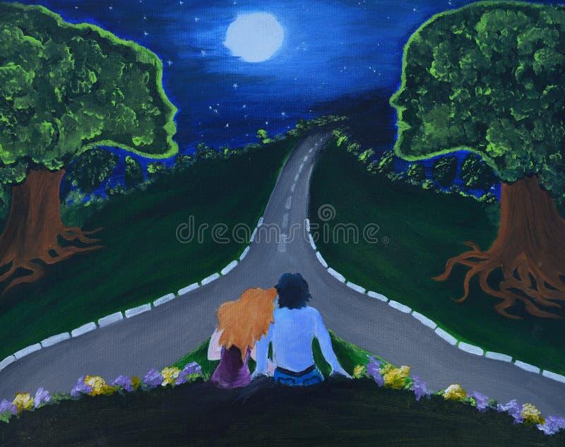 Καμβάς που χρωματίζει παρουσιάζοντας νύχτα της αγάπης με το ζεύγος, το φεγγάρι και τα δέντρα με τον άνθρωπο όπως τα πρόσωπα στοκ φωτογραφίες
