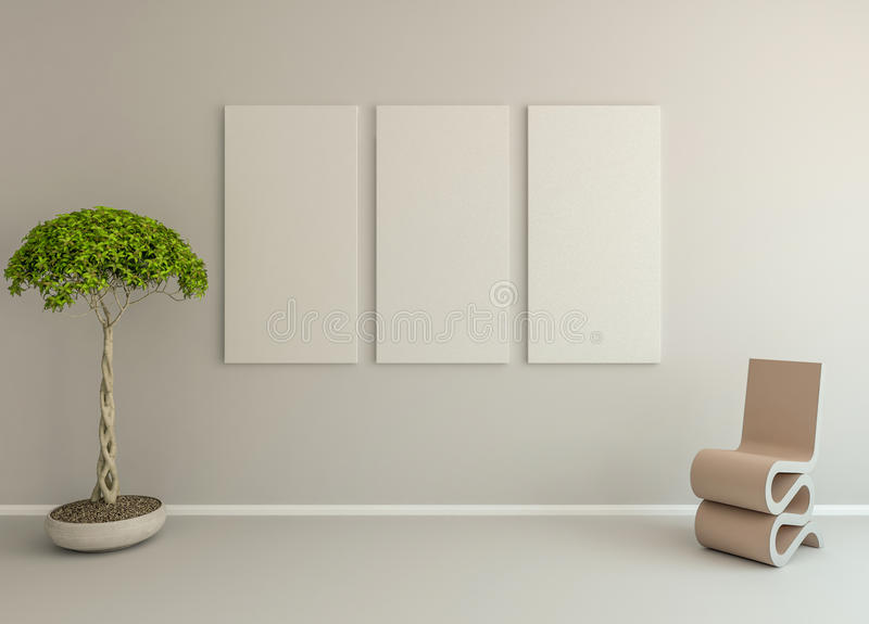 καμβάς 3 στον άσπρο τοίχο με τις εγκαταστάσεις και την καρέκλα στοκ εικόνα