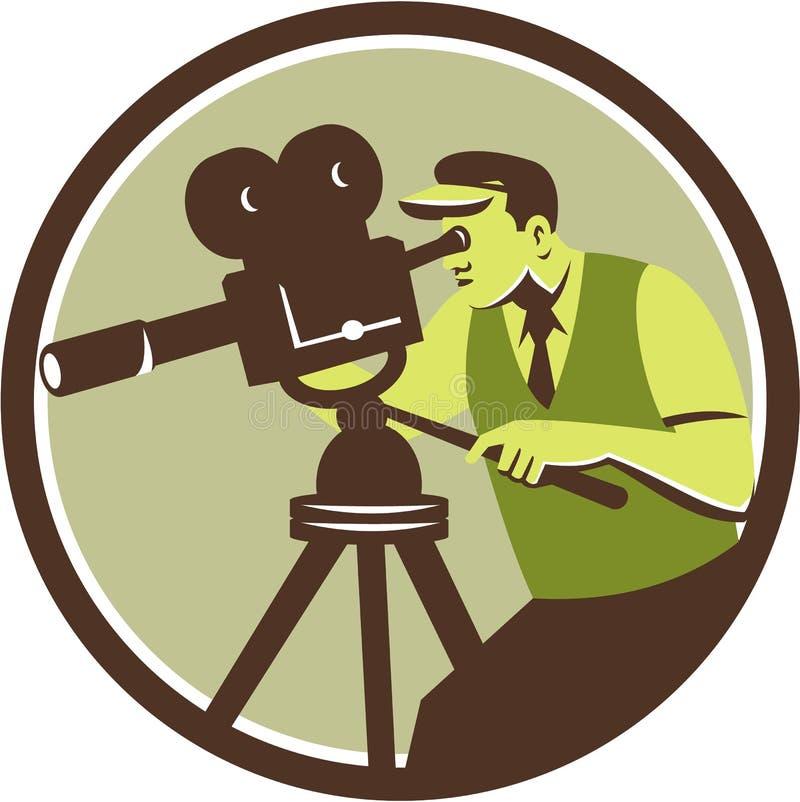 Καμεραμάν διευθυντής Vintage Camera Retro απεικόνιση αποθεμάτων