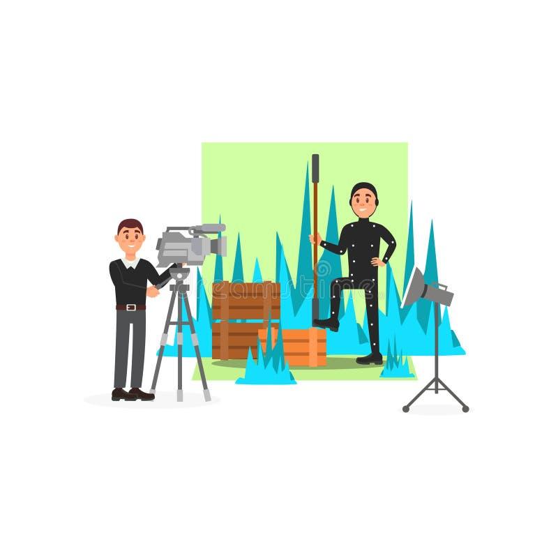 Καμεραμάν και δράστης που εργάζονται στην ταινία, βιομηχανία διασκέδασης, κινηματογράφος που κάνει τη διανυσματική απεικόνιση απεικόνιση αποθεμάτων