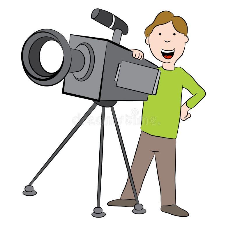 Καμεραμάν κινούμενων σχεδίων με τη κάμερα διανυσματική απεικόνιση