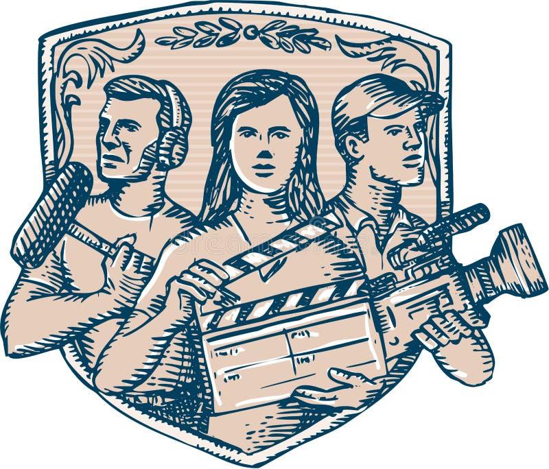Καμεραμάν Soundman χαρακτική Clapperboard πληρώματος ταινιών απεικόνιση αποθεμάτων