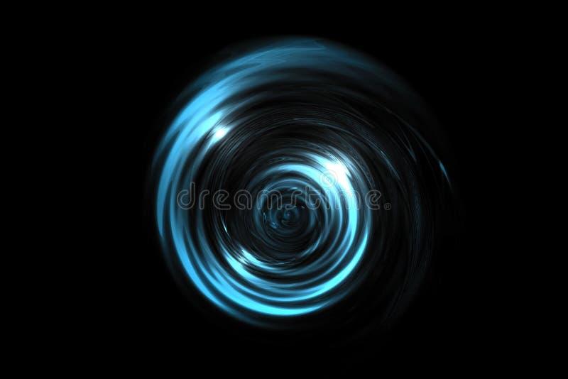 Καμμένος ανοικτό μπλε δίνη στο μαύρο σκηνικό, αφηρημένο υπόβαθρο ελεύθερη απεικόνιση δικαιώματος
