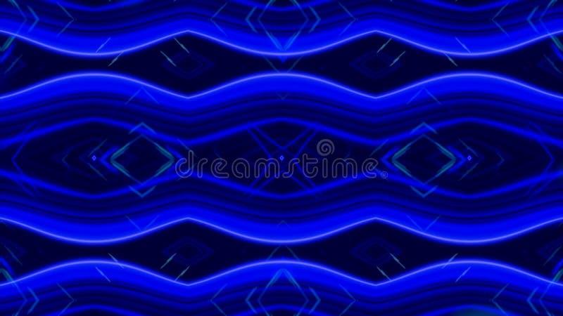 Καμμένος δυναμικό μπλε και άσπρο καλειδοσκόπιο, άνευ ραφής βρόχος : Όμορφοι μεταβαλλόμενοι αριθμοί μαγνήτισης, περίληψη ελεύθερη απεικόνιση δικαιώματος