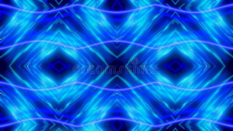 Καμμένος δυναμικό μπλε και άσπρο καλειδοσκόπιο, άνευ ραφής βρόχος : Όμορφοι μεταβαλλόμενοι αριθμοί μαγνήτισης, περίληψη απεικόνιση αποθεμάτων