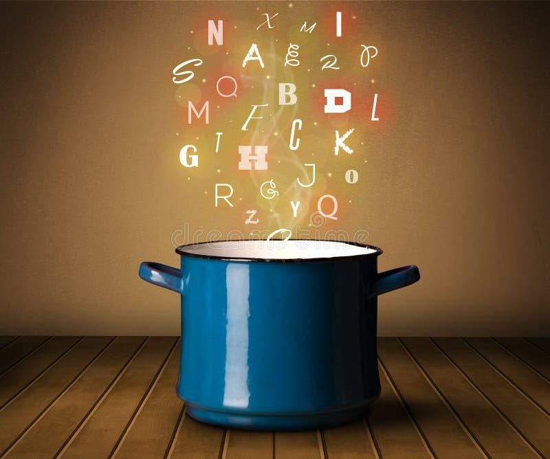 Καμμένος επιστολές που προέρχονται από το μαγείρεμα του δοχείου στοκ φωτογραφίες