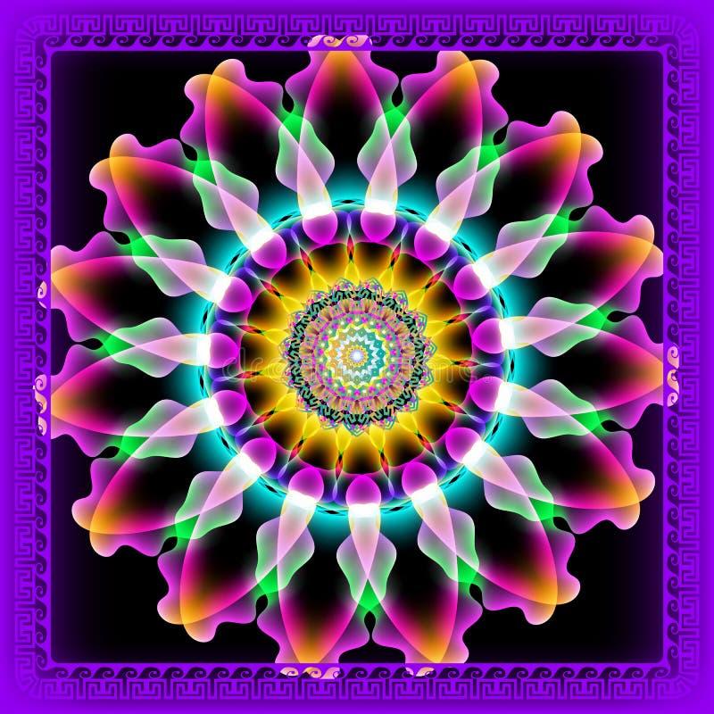 Καμμένος ζωηρόχρωμο floral ελληνικό στρογγυλό τρισδιάστατο σχέδιο mandala διακοσμητικό διάνυσμα ανασκόπησης Φωτεινά λουλούδια πυρ διανυσματική απεικόνιση