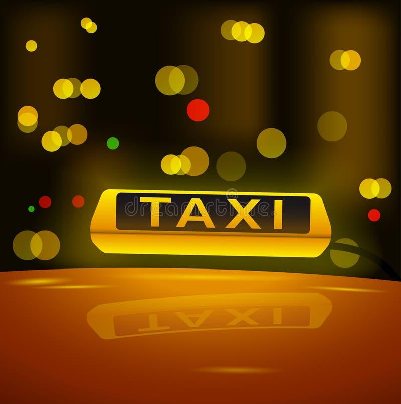 Καμμένος κίτρινο σημάδι ταξί στη στέγη του αυτοκινήτου στην πόλη νύχτας διανυσματική απεικόνιση