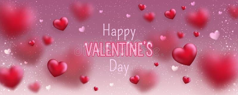 Καμμένος κείμενο για την ευτυχή ευχετήρια κάρτα ημέρας βαλεντίνων Χαριτωμένο έμβλημα αγάπης για την 14η Φεβρουαρίου διανυσματική απεικόνιση