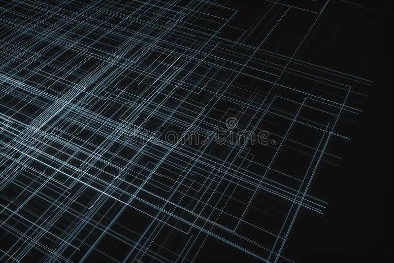 Καμμένος μεγάλες γραμμές στοιχείων και τεχνολογικό υπόβαθρο, τρισδιάστατη απόδοση στοκ εικόνα