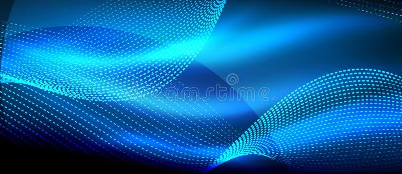 Καμμένος μπλε αφηρημένο κύμα στη σκοτεινή, λαμπρή κίνηση, μαγικό διαστημικό φως Αφηρημένο υπόβαθρο Techno διανυσματική απεικόνιση