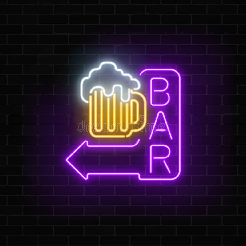 Καμμένος πινακίδα φραγμών μπύρας νέου με το βέλος στο σκοτεινό υπόβαθρο τουβλότοιχος Φωτεινό σημάδι διαφήμισης διανυσματική απεικόνιση