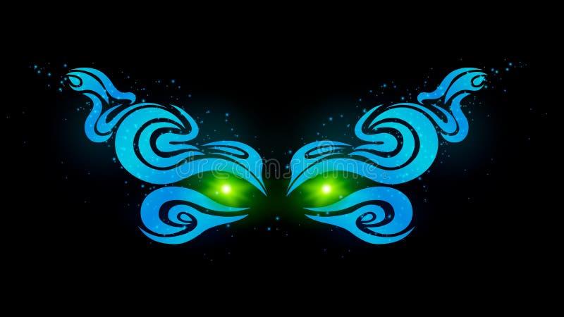 Καμμένος πράσινα μάτια στο σκοτάδι Όμορφο, ομαλό σχέδιο του μπλε Μυστήρια μάτια του τέρατος τέχνη και σχέδιο Διανυσματικό illustr απεικόνιση αποθεμάτων