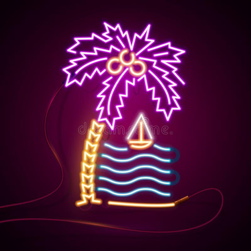 Καμμένος σημάδι επίδρασης νέου Φοίνικες και θάλασσα, ήλιος και νησί έννοια κλαμπ ή μπαρ θερινής νύχτας στο σκοτεινό υπόβαθρο ελεύθερη απεικόνιση δικαιώματος