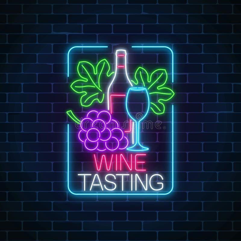 Καμμένος σημάδι νέου της δοκιμής κρασιού στο πλαίσιο ορθογωνίων Δέσμη και φύλλα των σταφυλιών με το μπουκάλι και ποτήρι του κρασι ελεύθερη απεικόνιση δικαιώματος