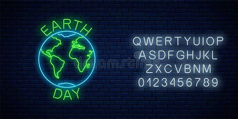 Καμμένος σημάδι νέου της ημέρας παγκόσμιας γης με το σύμβολο σφαιρών και το χαιρετώντας κείμενο με το αλφάβητο Έμβλημα νέου γήινη ελεύθερη απεικόνιση δικαιώματος