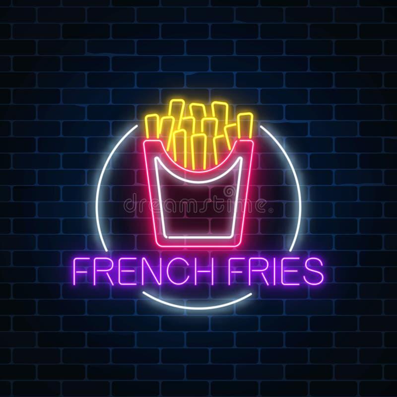 Καμμένος σημάδι νέου burger στο πλαίσιο κύκλων σε ένα σκοτεινό υπόβαθρο τουβλότοιχος Ελαφρύ σύμβολο πινάκων διαφημίσεων γρήγορου  ελεύθερη απεικόνιση δικαιώματος