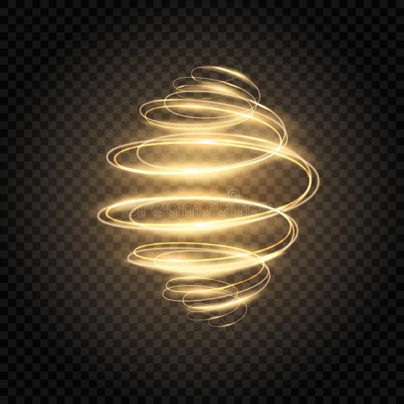 καμμένος σπείρα Χρυσός ελαφρύς στρόβιλος Φωτεινή επίδραση κινήσεων ταχύτητας Ακτινοβολήστε κυματιστό ίχνος ελαφριά ζωγραφική Μαγι ελεύθερη απεικόνιση δικαιώματος