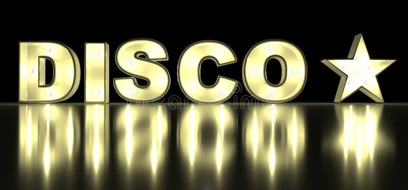 Καμμένος χαρακτήρας αλφάβητου γραμμάτων DISCO λαμπών φωτός διανυσματική απεικόνιση