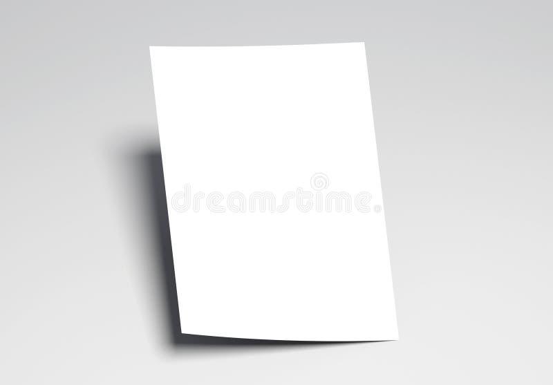 Καμμμένο άσπρο A4 φύλλο με τη μαλακή σκιά διανυσματική απεικόνιση
