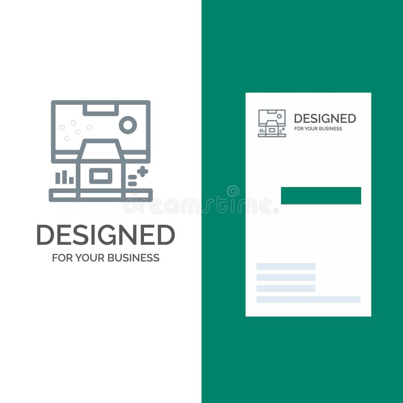Καμπίνα, κέντρο, έλεγχος, επιτροπή, γκρίζο σχέδιο λογότυπων δωματίων και πρότυπο επαγγελματικών καρτών διανυσματική απεικόνιση