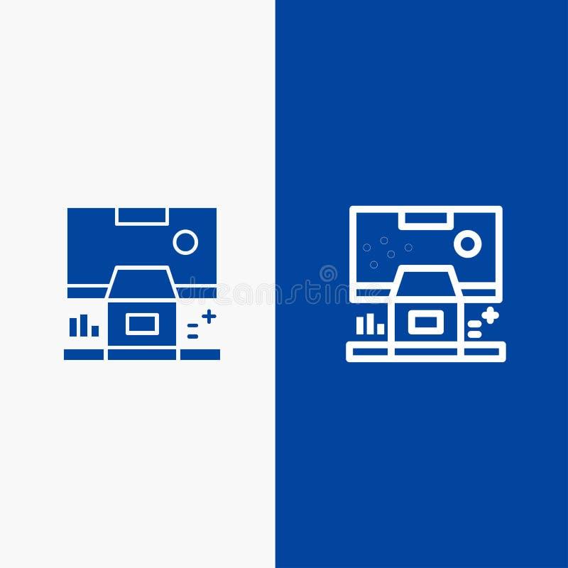 Καμπίνα, κέντρο, έλεγχος, επιτροπή, γραμμή δωματίων και στερεά γραμμή εμβλημάτων εικονιδίων Glyph μπλε και στερεό μπλε έμβλημα ει απεικόνιση αποθεμάτων