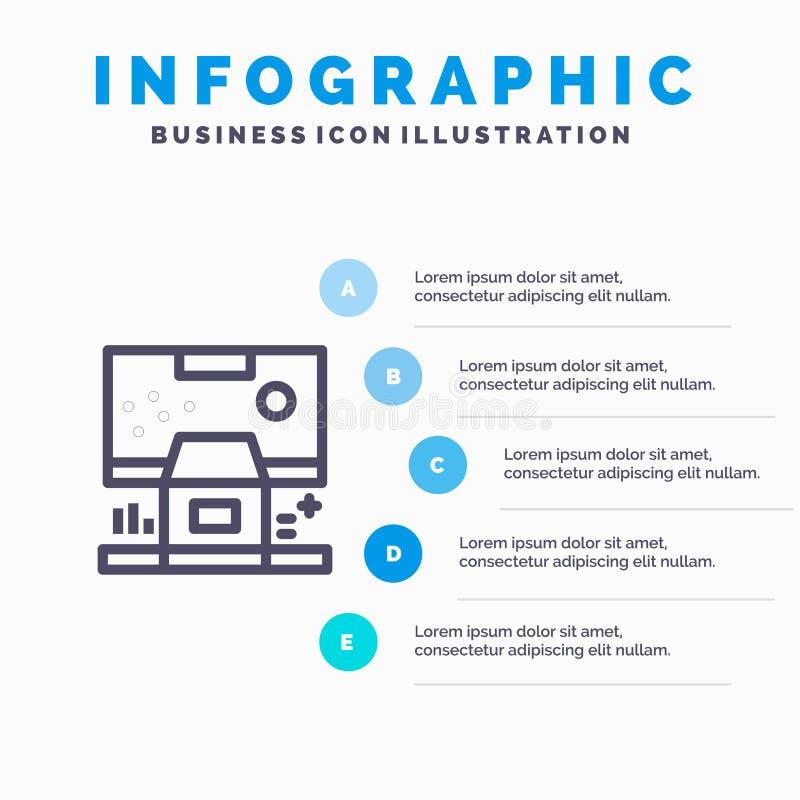 Καμπίνα, κέντρο, έλεγχος, επιτροπή, εικονίδιο γραμμών δωματίων με το υπόβαθρο infographics παρουσίασης 5 βημάτων διανυσματική απεικόνιση