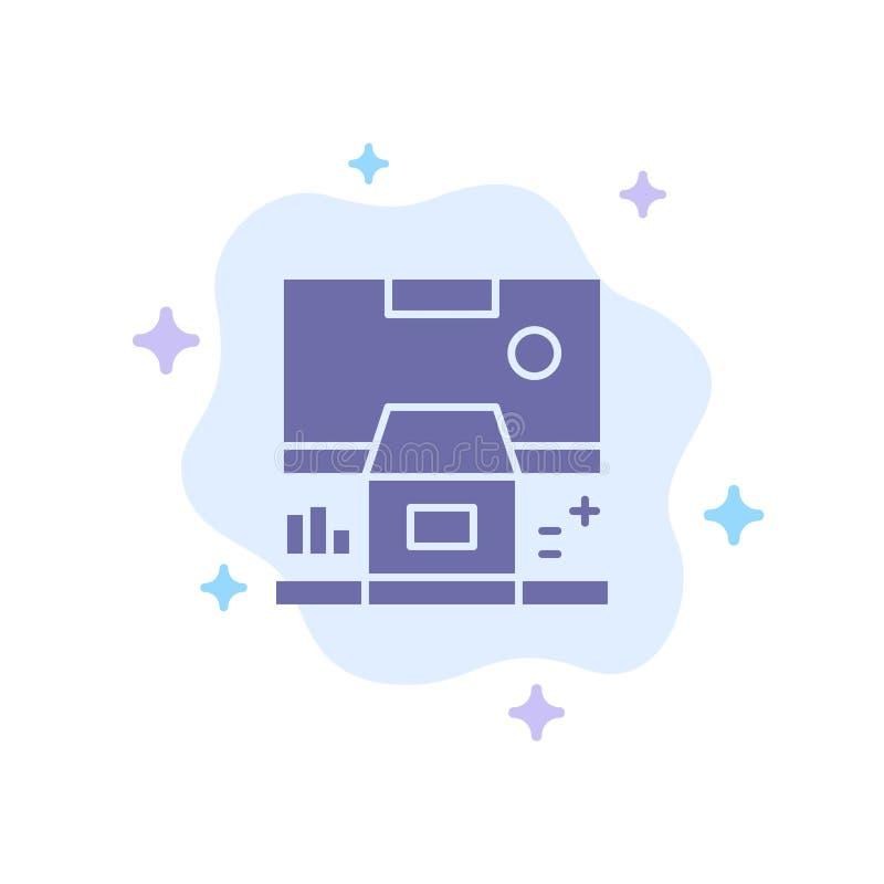 Καμπίνα, κέντρο, έλεγχος, επιτροπή, μπλε εικονίδιο δωματίων στο αφηρημένο υπόβαθρο σύννεφων διανυσματική απεικόνιση