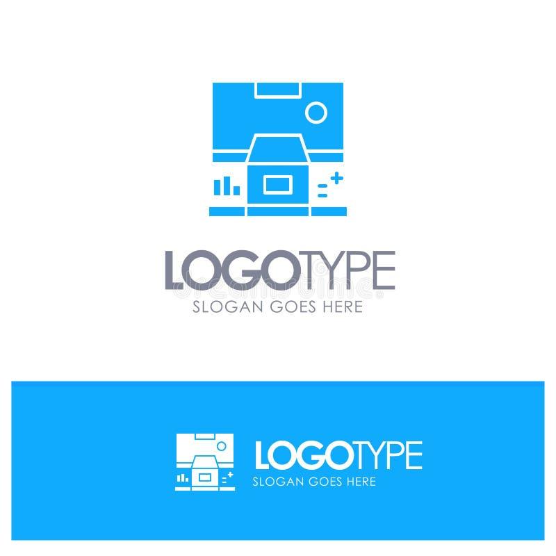 Καμπίνα, κέντρο, έλεγχος, επιτροπή, μπλε στερεό λογότυπο δωματίων με τη θέση για το tagline απεικόνιση αποθεμάτων