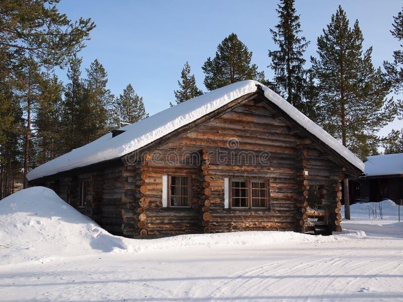 Καμπίνα κούτσουρων του Lapland στοκ φωτογραφίες