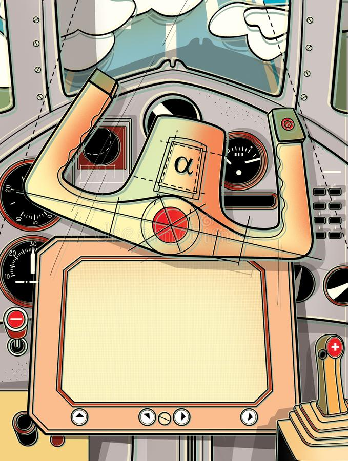 Καμπίνα οδήγησης και το τιμόνι του αεροπλάνου Άποψη από το πιλοτήριο του πιλότου Ψηφιακή απεικόνιση ελεύθερη απεικόνιση δικαιώματος