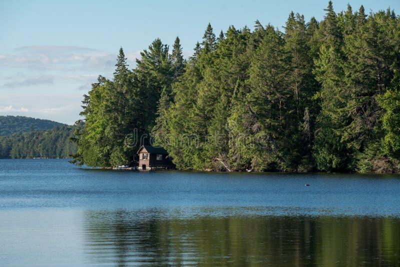 Καμπίνα σε μια λίμνη Algonquin στο επαρχιακό πάρκο στοκ φωτογραφία