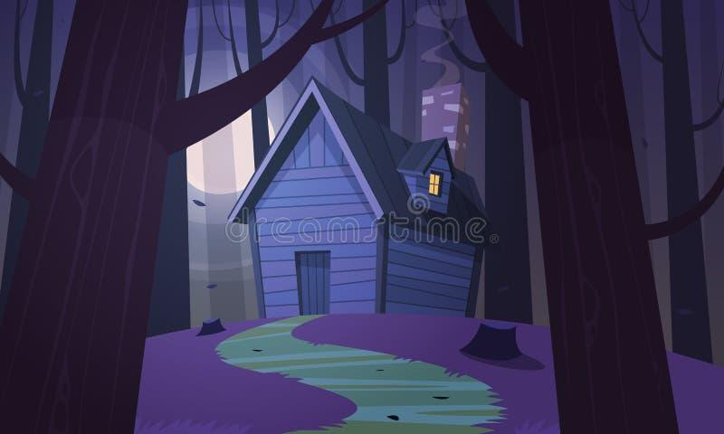Καμπίνα στα ξύλα - νύχτα ελεύθερη απεικόνιση δικαιώματος