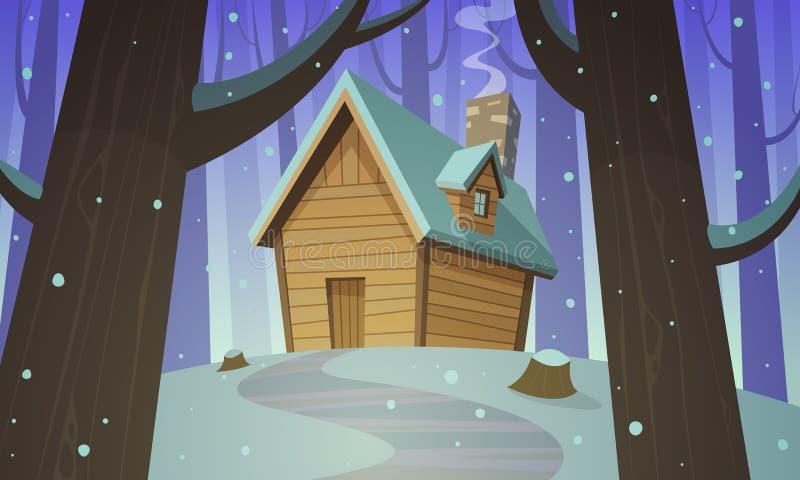 Καμπίνα στα ξύλα - χειμώνας απεικόνιση αποθεμάτων