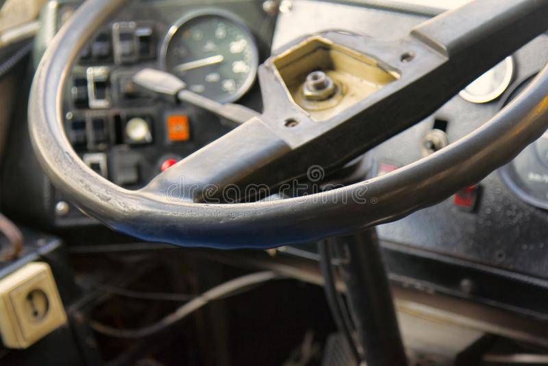 καμπινών στενός επάνω λεωφορείων ελέγχου παλαιός εκλεκτής ποιότητας στοκ εικόνα με δικαίωμα ελεύθερης χρήσης