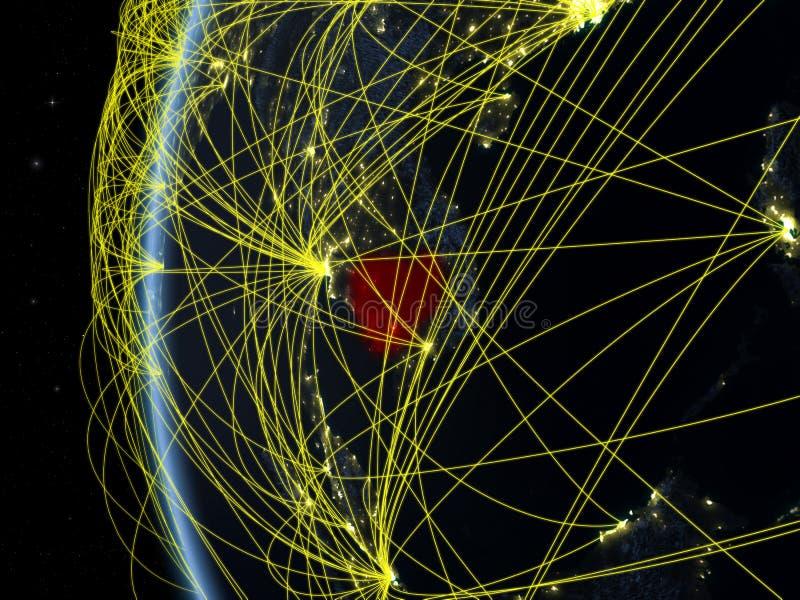 Καμπότζη από το διάστημα με το δίκτυο στοκ εικόνα