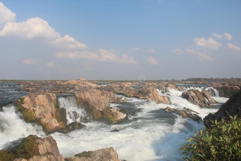 Καμπότζη Mekong ποταμός Καταρράκτης Τσιμπημένη πόλη Treng Τσιμπημένη επαρχία Treng στοκ εικόνες