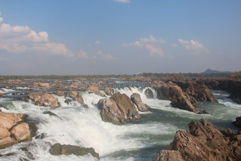 Καμπότζη Mekong ποταμός Καταρράκτης Τσιμπημένη πόλη Treng Τσιμπημένη επαρχία Treng στοκ φωτογραφία με δικαίωμα ελεύθερης χρήσης