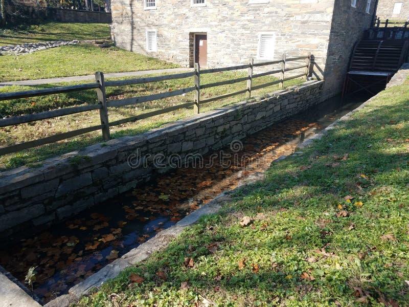 Κανάλι ή κανάλι νερού στον παλαιό μύλο με τους τοίχους βράχου στοκ εικόνες