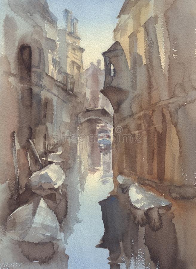 Κανάλι της Βενετίας με το υπόβαθρο σκίτσων watercolor βαρκών απεικόνιση αποθεμάτων
