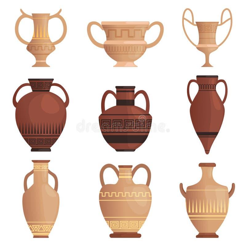 Κανάτα αργίλου Αρχαίος αμφορέας με το ελληνικό κύπελλο σχεδίων και άλλες διανυσματικές εικόνες κινούμενων σχεδίων σκαφών που απομ διανυσματική απεικόνιση