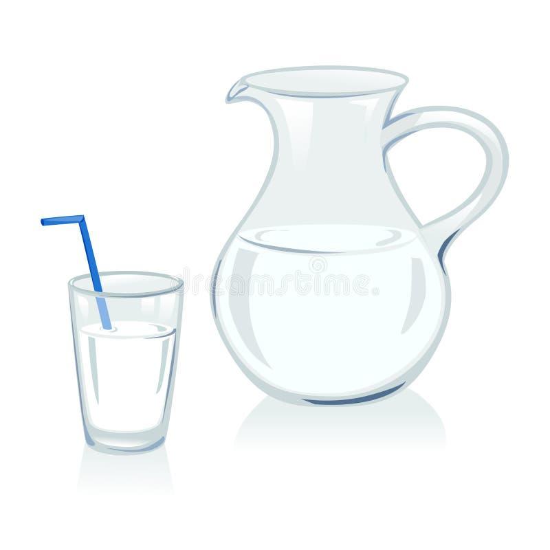 Κανάτα και γυαλί με το γάλα ελεύθερη απεικόνιση δικαιώματος