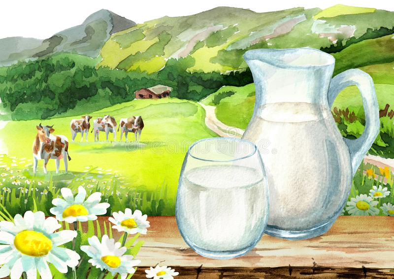 Κανάτα και ποτήρι του γάλακτος στον πίνακα στο υπόβαθρο του τοπίου και των αγελάδων συρμένη χέρι απεικόνιση watercolor που απομον απεικόνιση αποθεμάτων
